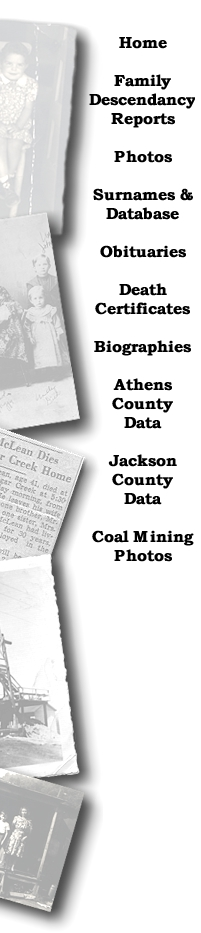 North, Davis, McLean, McClain, McLain, Athens County, Ohio, Obituaries, Surnames, Death certificates, Jackson County, Coal Mining photos, family descendancies